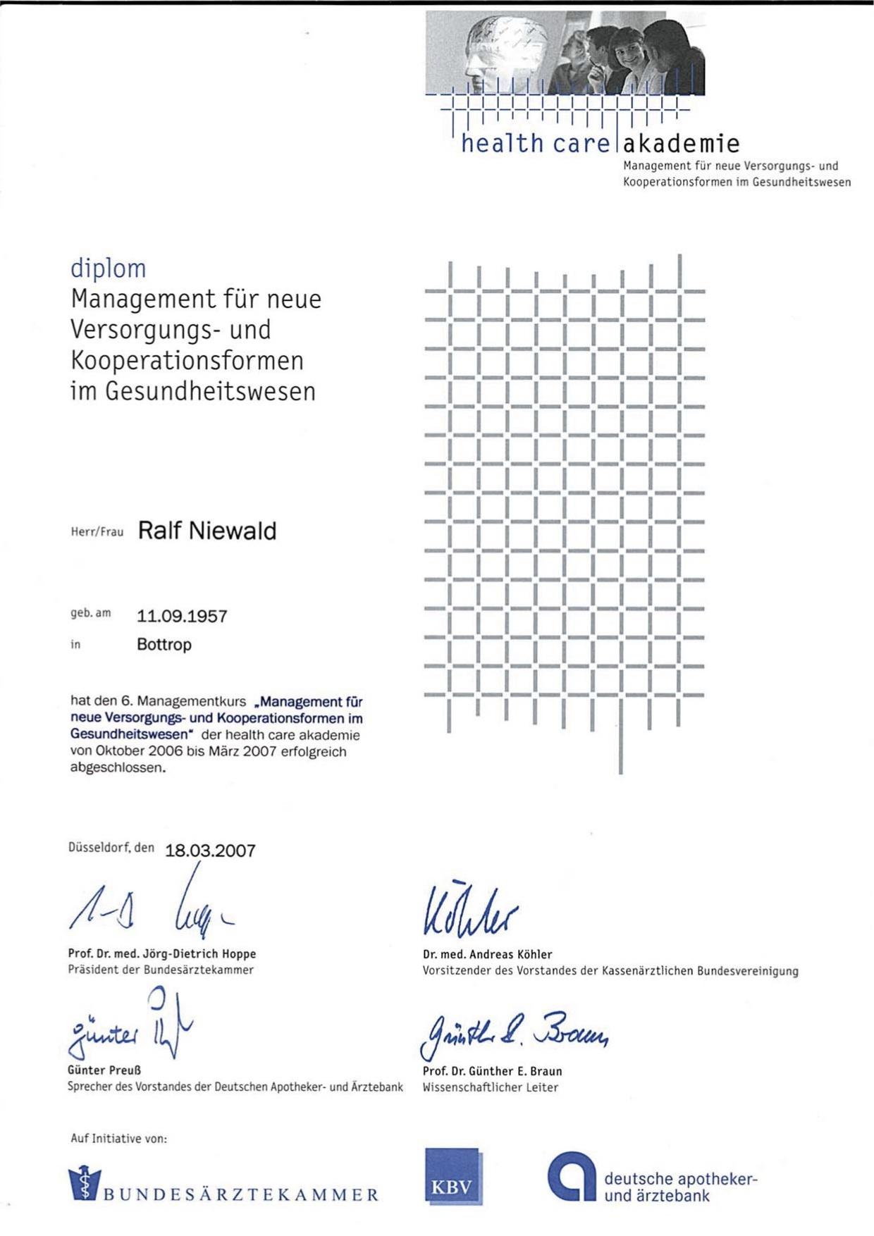 Lebenslauf von Ralf Niewald - Steuerberater in Bottrop - Jetzt ...